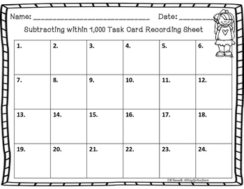Subtracting within 1,000 Task Cards
