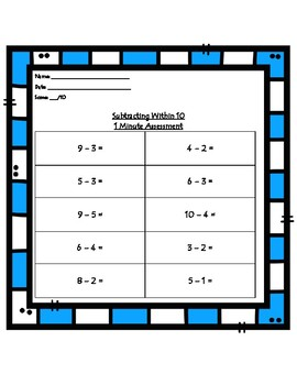 Subtracting within 10 Assessment/IEP GOAL