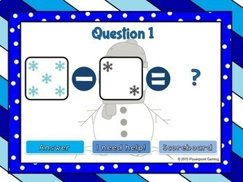 Subtract within 5 - Winter Edition Powerpoint Game