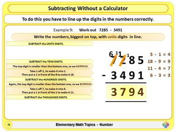 Subtracting without a Calculator for Elementary School Math