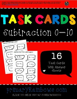 Subtraction 0-10 Task Cards (Kindergarten, first grade)