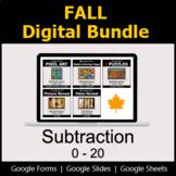 Subtraction 0-20 - Digital Fall Math Bundle
