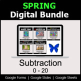 Subtraction 0-20 - Digital Spring Math Bundle