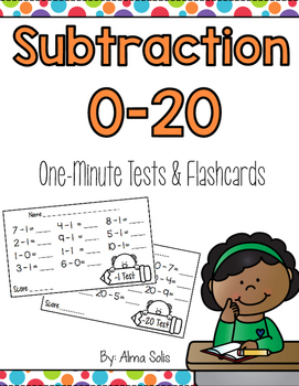 Subtraction 0-20 One Minute Tests and Flashcards