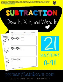 Subtraction 0-9 (Draw/Stamp It, X It, Write It!)