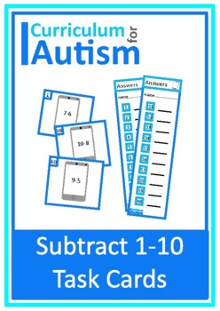Subtraction 1-10 Task Cards, Autism, Special Education, Math
