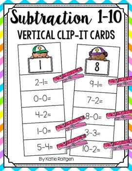 Subtraction 1-10 Vertical Clip-It Cards