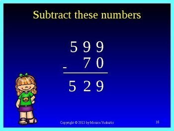 Common Core 3rd - Subtraction 1 - 3 Digits No Regrouping