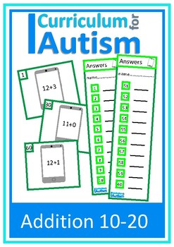Addition 10-20 Task Cards, Autism, Special Education, Math