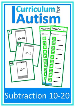 Subtraction 10-20 Task Cards, Autism, Special Education, Math