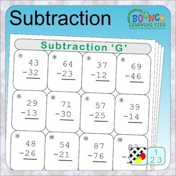 Subtraction (13 distance learning worksheets for Numeracy)