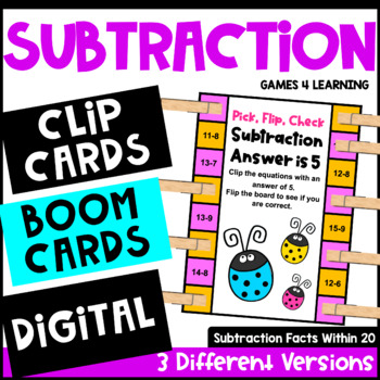 Subtraction Activity with Clothespins: Subtraction Facts Math Clip Cards