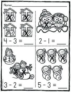Winter Subtraction Worksheets