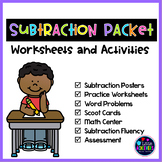 Subtraction Worksheets and Subtraction Centers