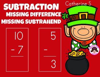 Missing Subtrahends Worksheets