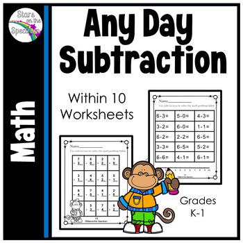 Subtraction Worksheets (Subtraction Single Digit)
