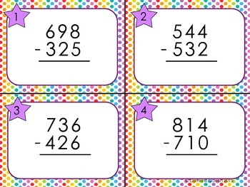 Subtraction Practice With Differentiated Task Cards - HUGE Set!