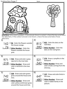 Subtraction Practice Puzzles and Glyphs to Solve, Draw, and Color