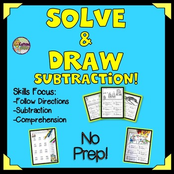 Subtraction Practice Puzzles & Glyphs to Solve, Draw, and Color