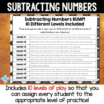 Subtraction Game: 10 Differentiated Subtracting Multi-Digit Numbers Games