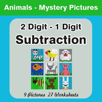 Subtraction: 2-Digit - 1-Digit - Color-By-Number Math Mystery Pictures