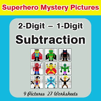 Subtraction: 2-Digit - 1-Digit - Color-By-Number Superhero Math Mystery Pictures