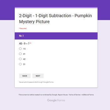 Subtraction: 2-Digit - 1-Digit - EMOJI PUMPKIN Mystery Picture - Google Forms