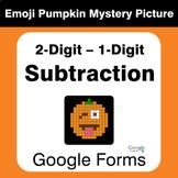 Subtraction: 2-Digit - 1-Digit - EMOJI PUMPKIN Mystery Pic