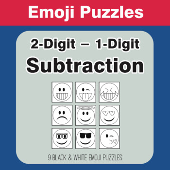 Subtraction: 2-Digit - 1-Digit Emoji Picture Puzzles