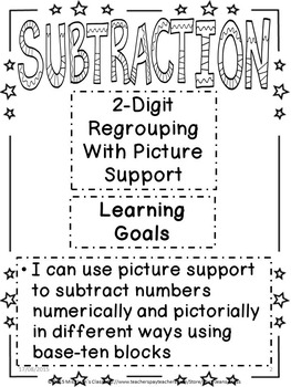 Subtraction 2-Digit Regrouping With Picture Support Student Workbook