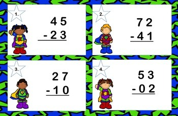 Subtraction 2 Digits - No Regrouping Task Cards