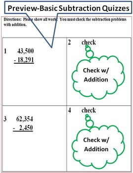 Subtraction- 2 Pretests/Posttests, 8 Practice Pages, 4 Basic Subtraction Quizzes