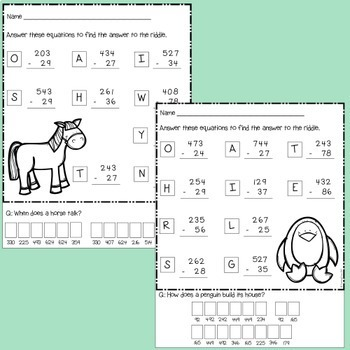 2 and 3 digit subtraction with regrouping Worksheets and Game