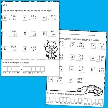 Subtraction Riddles - with and without regrouping