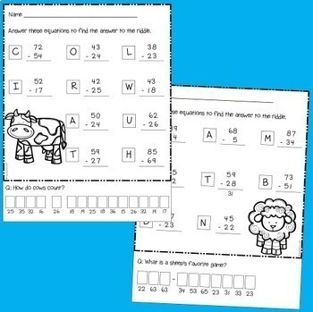 Subtraction with and without regrouping Worksheets and Games Bundle