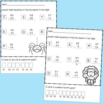 Subtraction Riddles - 2 digit numbers without regrouping