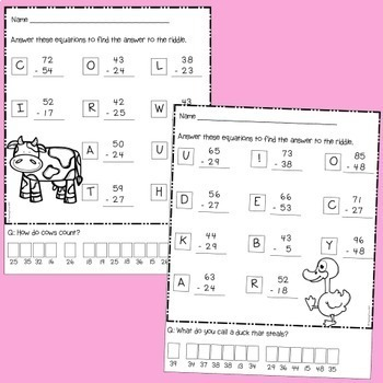 Subtraction Riddles - 2 digit numbers with regrouping