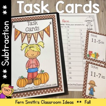 Fall Basic Subtraction Facts Task Cards, Recording Sheets and Answer Keys