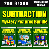 Subtraction Worksheets For 2nd Grade Coloring Sheets Mystery Picture Activity