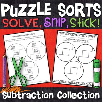 3 and 4 Digit Subtraction Puzzle Sorts