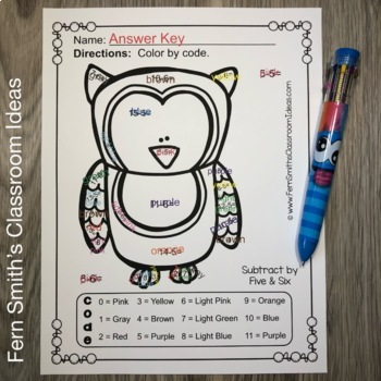 Color By Numbers Funky Owls Subtraction
