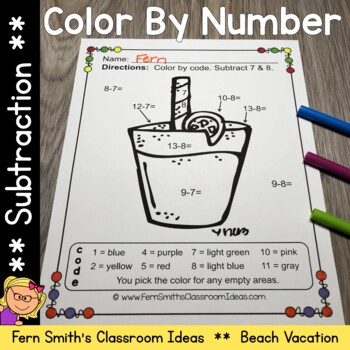 Color By Numbers Vacation Fun Math Subtraction