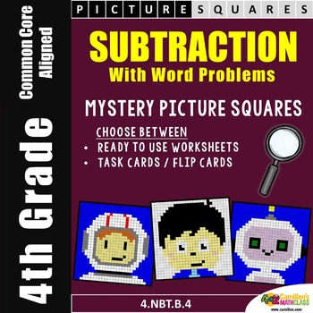 4th Grade Subtraction Center Activities, Coloring Worksheets Mystery Pictures