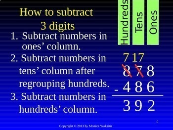 Common Core 3rd - Subtraction 3 - 3 Digits with Regrouping in Hundreds