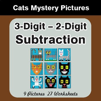Subtraction: 3-Digit - 2-Digit - Color-By-Number Math Mystery Pictures