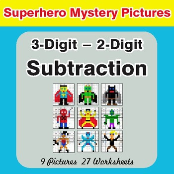 Subtraction: 3-Digit - 2-Digit - Color-By-Number Superhero Math Mystery Pictures
