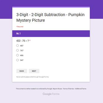 Subtraction 3-Digit - 2-Digit - EMOJI PUMPKIN Mystery Picture - Google Forms