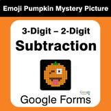Subtraction 3-Digit - 2-Digit - EMOJI PUMPKIN Mystery Pict