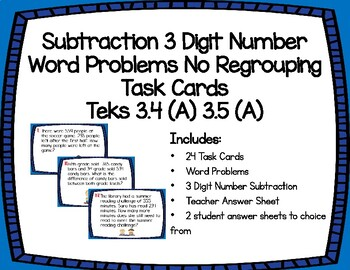 Subtraction 3 Digit Number Word Problems No Regrouping Task Cards