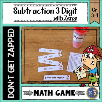 Subtraction 3 Digit with Zeros Don't Get ZAPPED Math Game